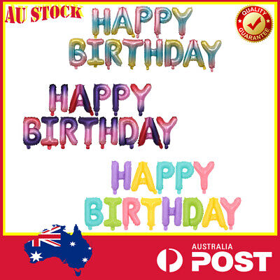 AU7.98 • Buy Rainbow 16  Gradient Colour Happy Birthday Letter Foil Balloons Banner Decor DIY