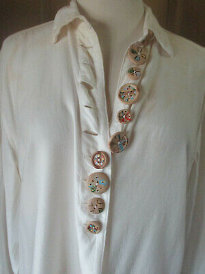 $14.99 • Buy M 7 X 7 Vintage 1980/90s Hand-painted Wood Button Art Deco Long Sleeve White Top