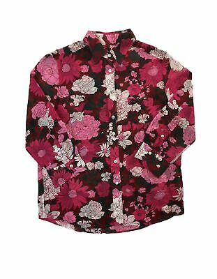 Women's Gant Floral Voile 3/4 Sleeve Cotton/silk Shirt In Mahogany Red 10 • 31.99£