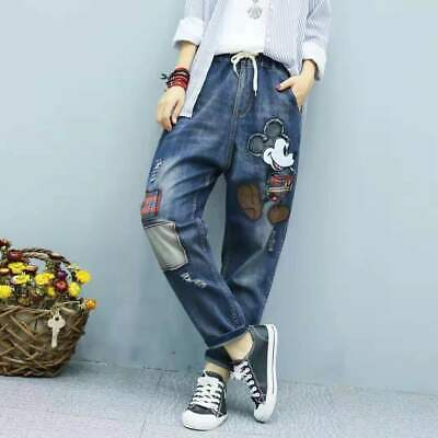 £18.79 • Buy Women Ladies Mickey Mouse Hole Denim Trousers Jeans Ripped Straight Harem Pants