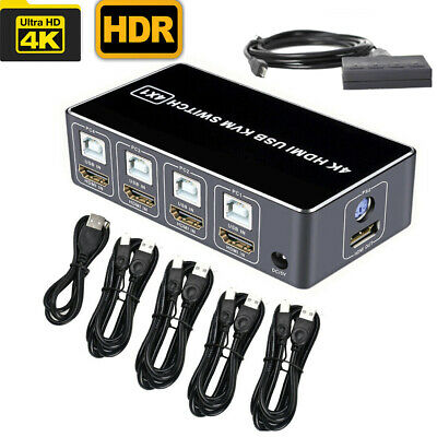 AU71.99 • Buy 4 Port 4K HDMI USB KVM Switch 4X1 Switcher 4 In 1 Out Mouse Keyboard Win10/8/mac