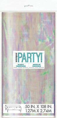 AU11.99 • Buy Unicorn Party Iridescent Rainbow Tablecover Table Cover Cloth Plastic Tablecloth