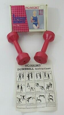 $ CDN53.66 • Buy Vintage Pro Aerobics Pink 5lb Dumbbell Pair Exercise Weights Box 80s
