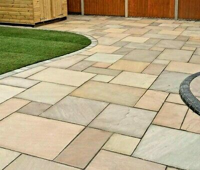 Indian Paving Raj Green Sandstone Flags Paving Slabs Patio Packs 22mm Calibrated • 208.75£