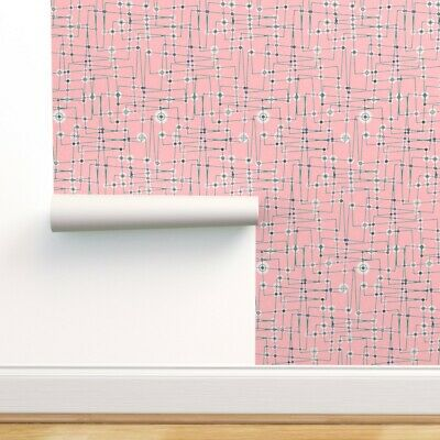 Wallpaper Roll Circuitry 50S Electronic Robot Pink Green Maroon 24in X 27ft • 159.43£