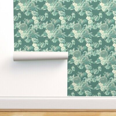 Wallpaper Roll Floral Mid Century 50S Teal Blue Flowers Elegant 24in X 27ft • 159.43£