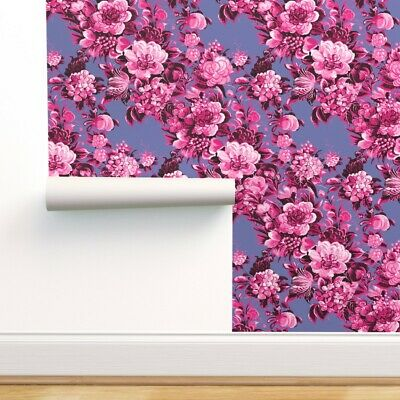 Wallpaper Roll Midcentury 50S Modern Floral Flowers Berry Hot 24in X 27ft • 159.43£