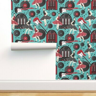 Wallpaper Roll Guitars Jukebox Rock N Roll Records 50S Dancers 24in X 27ft • 159.43£