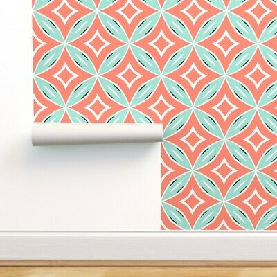 Wallpaper Roll Mint Coral Mid Century 50S Lattice Retro 24in X 27ft • 159.43£