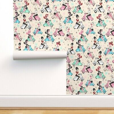 Wallpaper Roll Scooter Up Retro 50S Italian Mcm Aqua Scooters 24in X 27ft • 159.43£