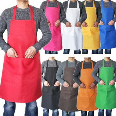 £4.30 • Buy New Plain Apron With Front Pocket Chefs Butchers Kitchen Cooking Craft Baking Uk