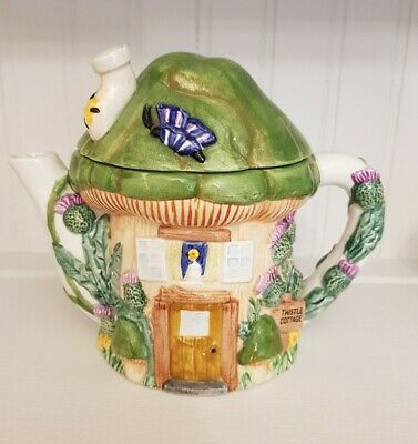 The Village Collectables 'Thistle Cottage' Ornamental Teapot By Annie Rowe • 7.99£