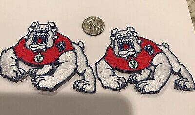 "$9.99 • Buy 2-Fresno State University Bulldogs Embroidered Iron On Patches 4""x 3"" Awesome!!"
