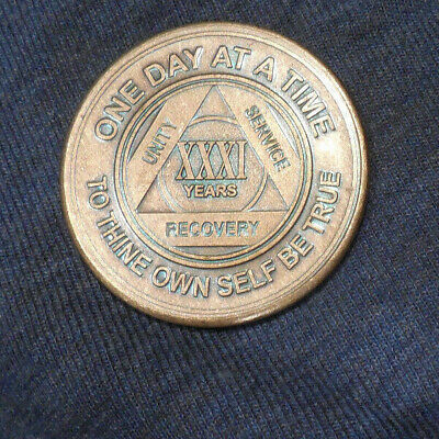 $3.20 • Buy Aa Alcoholics Anonymous Bronze 31 Year Recovery Sobriety Coin Chip Token