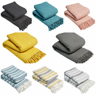 £9.95 • Buy Large Size 100% Cotton Woven Sofa Bed Settee Throw Cover Chair Bedspread Blanket