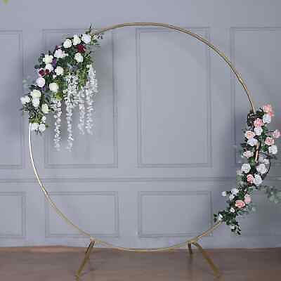$109.99 • Buy 7.5 Ft Gold Metal Wedding Arch Photo Booth Backdrop Stand - 100 Lbs Capacity