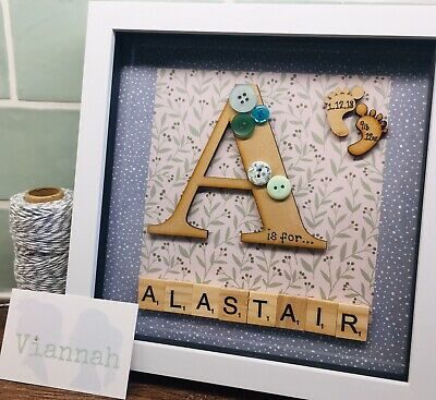 Personalised Scrabble Picture Frame New Baby • 20£