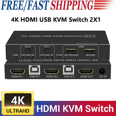 AU38.59 • Buy 4K HDMI KVM Switch 2 Port USB KVM Switcher 4K@30Hz For Sharing Keyboard Mouse AU
