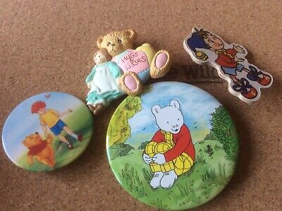 Five Children's Badges And Brooches Including Noddy, Rupert Bear And Winnie The  • 5£