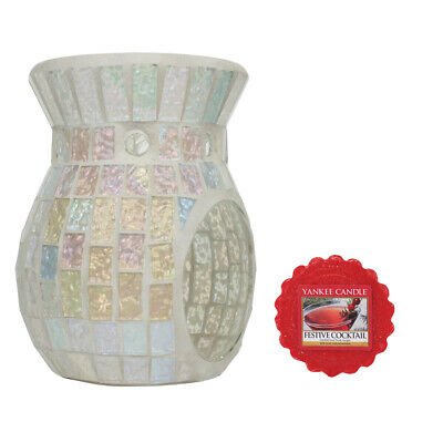 Ice Lustre Crackle Tea Light Wax Melt Burner Warmer + Yankee Candle Wax Melt • 12.99£