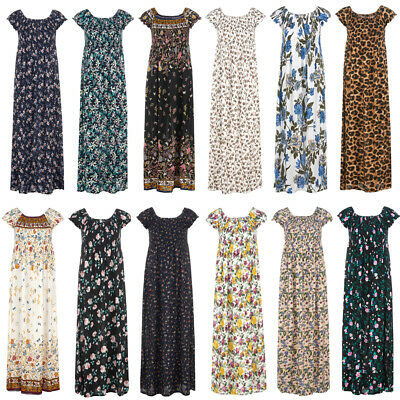 New Ladies Long Cotton Maxi Dress Short Sleeve Women For Beach Holiday Party • 9.49£