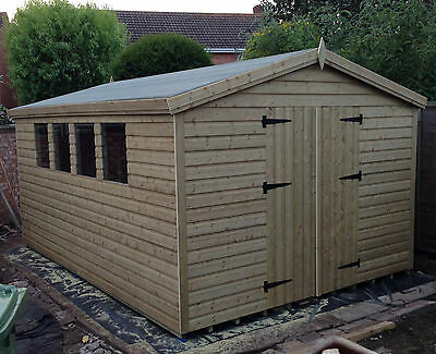 14'x10' Tanalised 19mm T&g Shiplap Heavy Duty Shed Apex Roof/double Doors • 1,470£