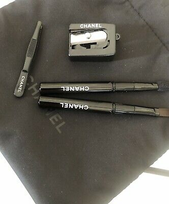 BN CHANEL Travel / Compact Brushes Set - Lips Eyes Tweezers Sharpener Pouch • 19.99£