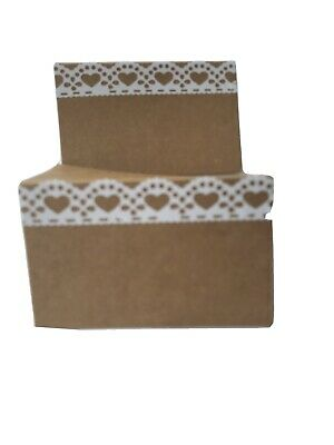 Name Place Cards Kraft Rustic X 10 Wth Lace Effect Weddings Celebration • 1.40£