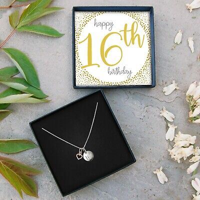 £19.99 • Buy Silver Engraved Disk Rose Gold Heart Necklace 16th Birthday Present Jewellery