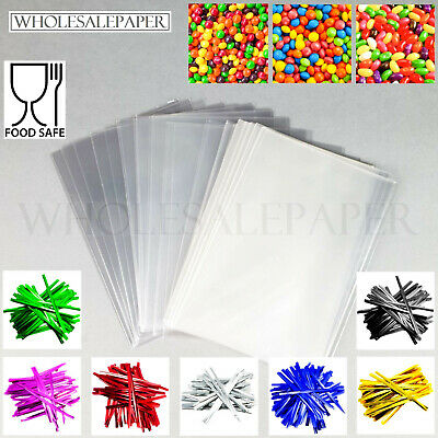 £2.99 • Buy Clear Cellophane Bags Small Large Food Cello Plastic Gift Sweets With Twist Ties