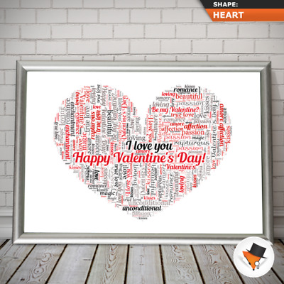 AU24.73 • Buy Personalised Word Art Print Heart Shape For Valentines Day Gift Set For Him Her