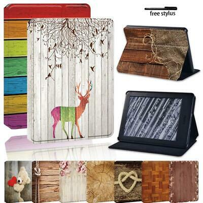 Wood Leather Stand Cover Case For Amazon Kindle 8/10th Paperwhite 1/2/3/4 • 7.99£