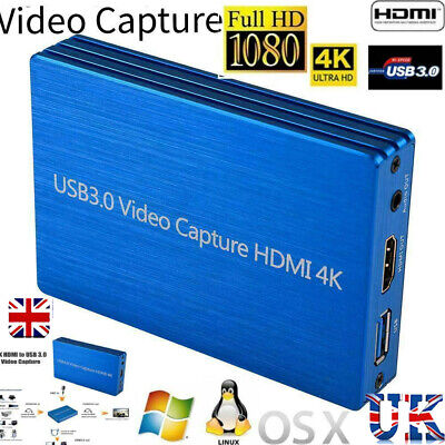4K HDMI To USB 3.0 Video Capture Card Dongle 1080P 60fps FHD Video Recorder UK • 47.88£
