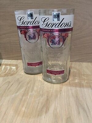 RECYCLED GORDONS Pink GIN BOTTLE DRINKING GLASS - 100% RECYCLED - UNIQUE GIFT! • 8.50£