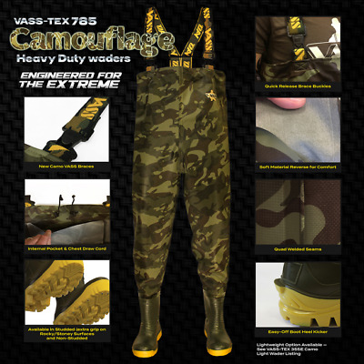 New Vass - Tex 785 'Heavy Duty' Camouflage Chest Wader VA785-70E - Fishing • 109.98£