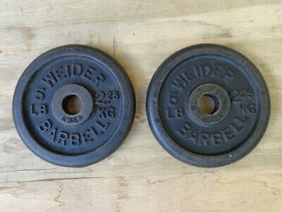 $ CDN66.91 • Buy Pair Of Vintage Weider 5 Lb Barbell Weight Plates With Standard 1 Inch Hole