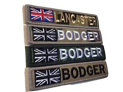 1 X Airsoft Union Jack Flag Name Patch  5 X 1  Hook And Loop Paintball Mollie ! • 6.99£