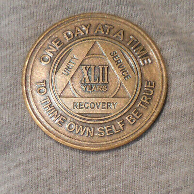 $3.20 • Buy Aa Bronze Alcoholics Anonymous 42 Year Sobriety Chip Coin Token Medallion
