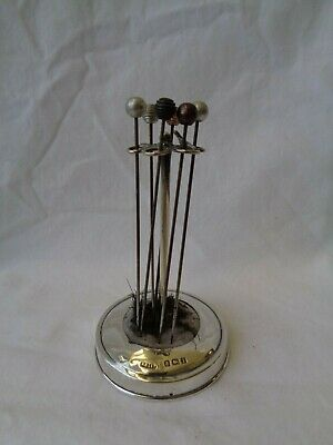 Antique Silver Hat Pin Stand + 6 Antique Pins C1908 • 95£