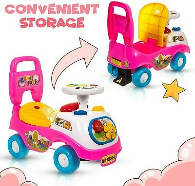 Pink Ride On Children's Sit' N Ride Push Along Car Vehicle Toy With Horn Sounds • 24.99£