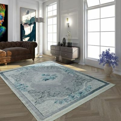 Vintage Rug Modern Carpet Flowers Blue Living Room Large Floor Bedroom Mat Grey • 189.99£