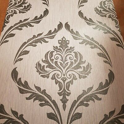 Grey Black Glitter Damask Style Vinyl Wallpaper Slightly Imperfected • 6.95£