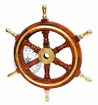 Wooden Ship Wheel Nautical Boat Steering Brass Handle Pirate Wall Decorative • 35£