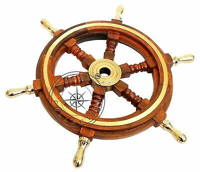 Wheel Nautical Boat Steering Brass Handle Pirate Wall Wooden Ship Decorative • 30£