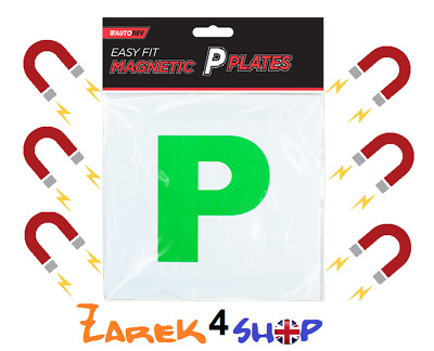 Pack Of 2 Magnetic Passed Pass New Driver Green P Plate Plates For Car Vehicle • 2.97£