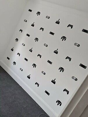 5 X RETRO Gaming Controllers Mixed Vinyl Decal Sticker Wall Bedroom DIY • 2.75£