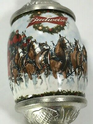 $ CDN65.14 • Buy Budweiser Beer Pewter Christmas Tree Ornament Egg Clydesdale Horses Drawn Wagon