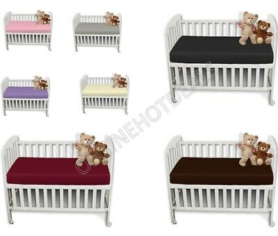 New Cot Bed Fitted Bed Sheet Poly Cotton Dyed Sheet 60 x 120 cm All Colours