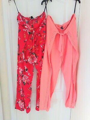 2 X Lady's Summer Maxi Wide Leg Pants Skirt Size 14 Worn Once • 3.50£