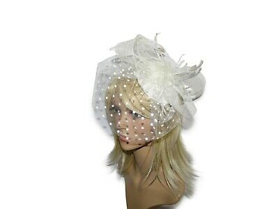Beautiful Cream Fascinator Hat Wedding Hair Accessories With Feathers Bow Ascot • 6.50£